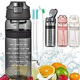 Botella con Pajita Botellas de agua para niños sin BPA Marcador de Tiempo Motivacional y Cepillo de Limpieza, para Gimnasio Ciclismo Trekking Reutilizable Tapa Abatible de 1 Clic 850ml Gris