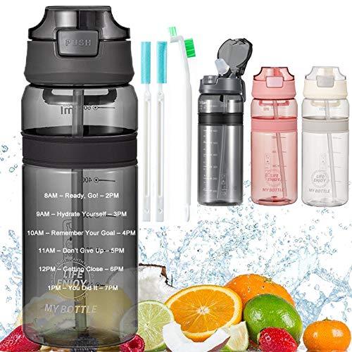 Trinkflasche mit Strohhalm Wasserflasche mit Zeitmarkierung BPA Frei Sportflasche, Auslaufsichere Fahrradflasche für Kinder Gym Camping Yoga Fitness Outdoor Radfahren Schule