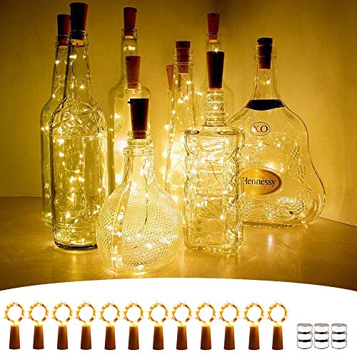 Wine Bottle Lights with Cork, [12 Pack] 2M 20 LEDs Fairy Lights Battery Operated with Copper Wire String Lights for DIY Party Christmas Holiday Wedding Indoor Outdoor Decoration - Warm White