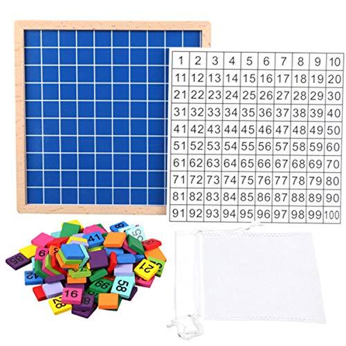 Fahou Juguetes de Madera de Mesa Aprendizaje de Las matemáticas, Cientos Montessori 1-100 números consecutivos de Madera Tablero Digital, Juegos educativos para niños, con Bolsa de Almacenamiento