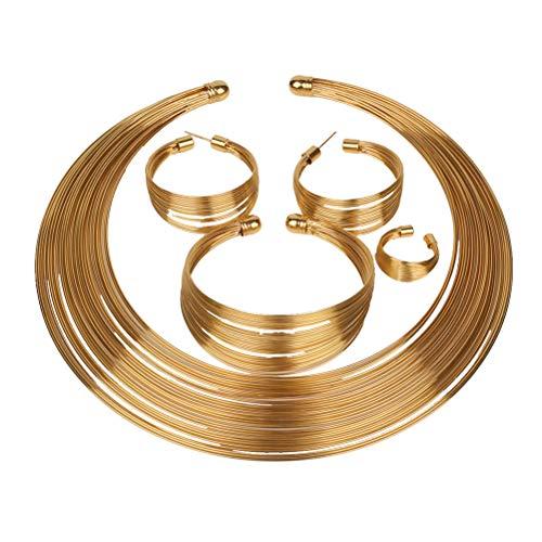 Anillo de plata de cuatro piezas collar pendiente del pendiente Pulsera de plata africano conjunto para boda nupcial (oro)