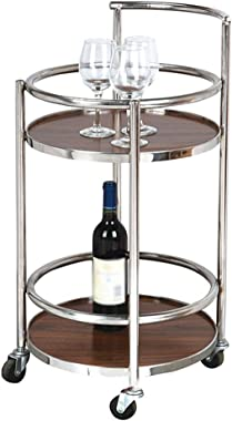 Serving Trolley Drinks Stainless Steel with Guardrail Solid Wood Round Table Can Move Rubber Wheel 2 Trays Kitchen, Load 20 K