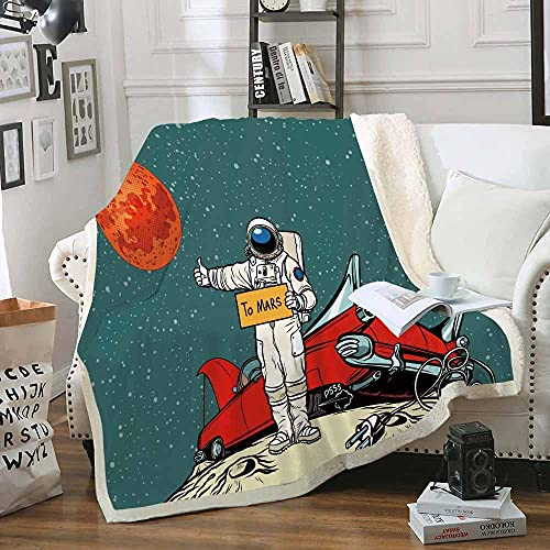 Manta de Tiro de Astronauta 130x150cm Mullida Transpirable Manta de Sherpa para Niños Adultos 3D Impresa Manta de Microfibra Franela Extra Suave para Sala de Estar/Dormitorio/Sofá Cama,Azul