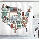ABAKUHAUS Karte Duschvorhang, Reise-Marksteine USA-Flagge, mit 12 Ringe Set Wasserdicht Stielvoll Modern Farbfest & Schimmel Resistent, 175x180 cm, Mehrfarbig