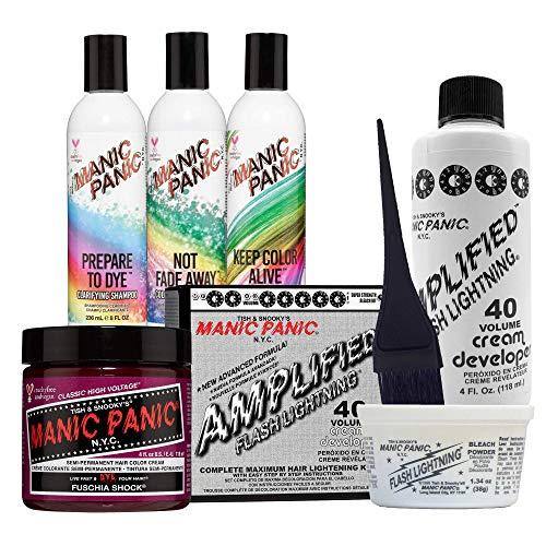Manic Panic Fuschia Shock Hair Dye Bundle With 40 Volume Cream Developer Bleach Kit, Prepare to Dye Clarifying Shampoo, Not Fade Away Shampoo and Keep Color Alive Conditioner