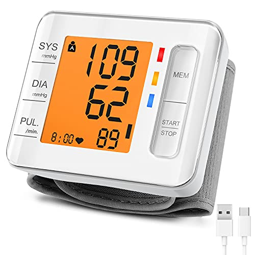 CARMAS Wrist Blood Pressure Monitor, USB Charging Backlight Display Automatic Digital BP Monitor, Blood Pressure Cuffs with 240 Reading Memory for Home Use Irregular Heartbeat Hypertension