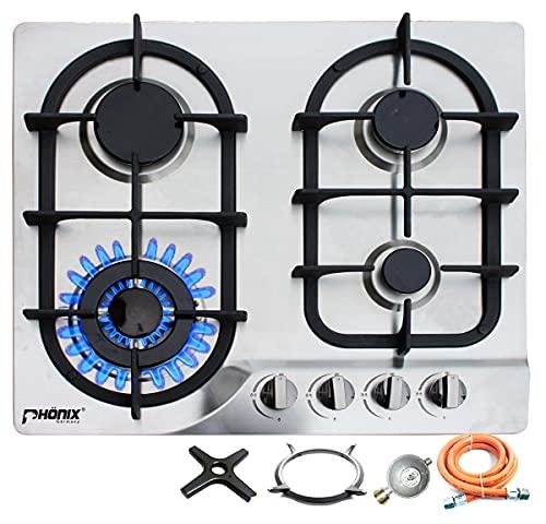 Phönix PS-604 Gaskochfeld Einbau Kochfeld Edelstahl Gaskocher 4 flammig LPG/Erdgas (freistehend- / Einbau- Gaskochfeld) inkl. Gasschlauch-Regler Set für Propangasflaschen