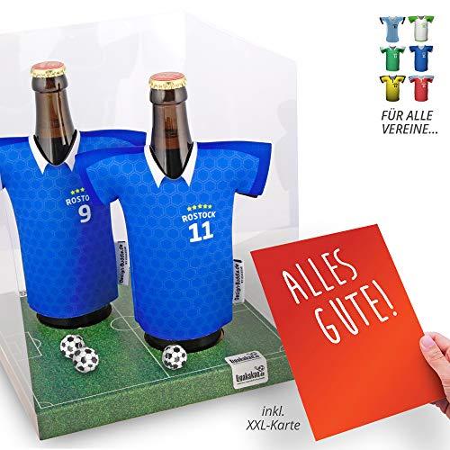 Der Trikotkühler | Das Männergeschenk für Hansa Rostock-Fans | Langlebige Geschenkidee Ehe-Mann Freund Vater Geburtstag | Bier-Flaschenkühler by Ligakakao