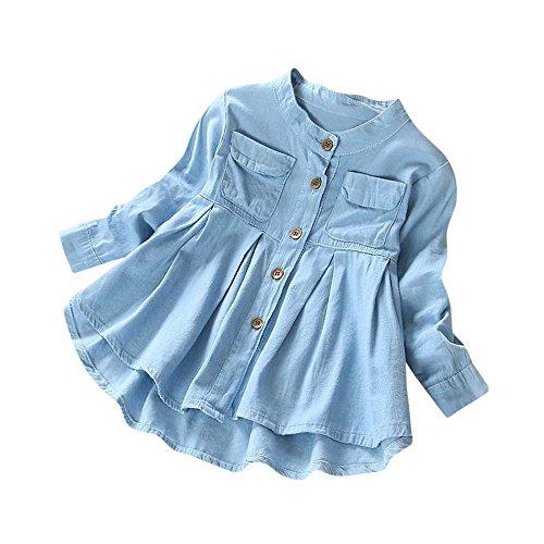 LEXUPE Kleinkind Kind Baby Mädchen Denim Rüschen Langarm T-Shirt Tops Bluse Kleidung(Blau,XXX-Large)