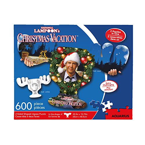 AQUARIUS National Lampoon s Christmas Vacation Moose Mug Puzzle (2-Sided Shaped 600 Piece Jigsaw Puzzle) - Glare Free - Precision Fit - Officially Licensed Merchandise & Collectibles - 25.5 x 15.75 In