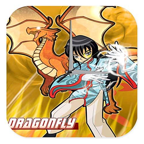LEotiE SINCE 2004 Horloge Murale Amusant DÈcoration De Cuisine Marke Dragon de Manga Libellule Imprimee Plexiglas 25x25 cm