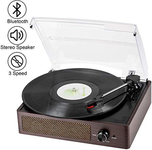Vinyl Plattenspieler, Bluetooth tragbaren Vinyl Plattenspieler Schallplattenspieler mit 3-Gang 33/45/78 U/min und Eingebauter 2 Stereo Lautsprechern- natürliches Holz