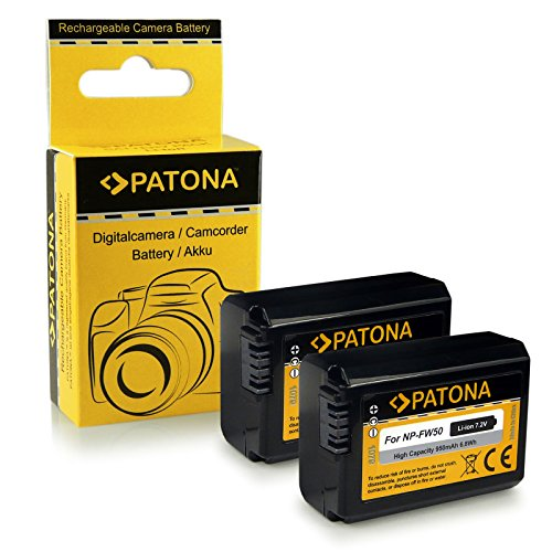 2x batterie NP-FW50 per Sony NEX-3 / NEX-3A / NEX-3D / NEX-3K / NEX-5 / NEX-5A / NEX-5D / NEX-5H / NEX-5K / NEX-6 / NEX-7, Sony Alpha 33 (SLT-A33) / 37 (SLT-A37) / 55 (SLT-A55)