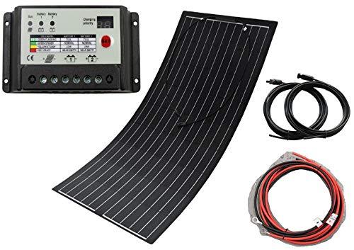 Spark - Panneau solaire souple durable 100 W composé de cellules Back-Contact - Kit de chargement pour camping-car, caravane, bateau ou yacht