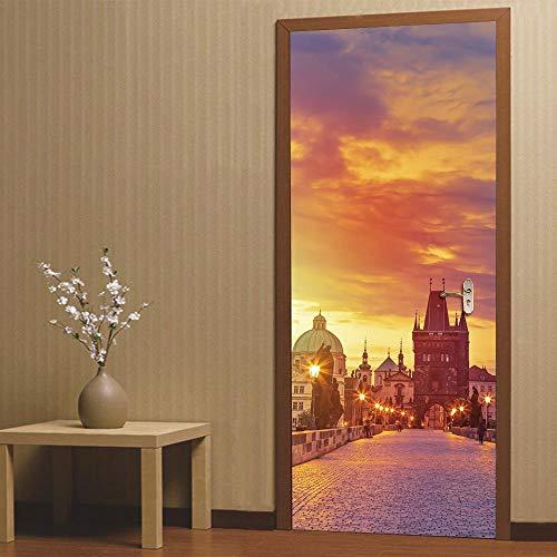 FCFLXJ3D Tür Aufkleber im Sonnenuntergang Prag Poster Wandbild Tapete dreidimensionale Haus Hintergrund Schlafzimmer Tür Dekoration selbstklebende PVC selbstklebende Stereo er 77x200cm