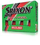 Srixon Soft Feel Brite Matte Color Golf Balls, Matte Red (One Dozen)