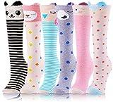 Girls Knee High Socks 6 Pairs Animal Pattern (3-12 Years Old, Animal A)