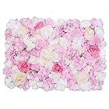 Trimming Shop Hortensia Artificiel Fleur Mur Blanc, Vert & Rose Velours Rose Fausse Fleur Mur pour Toile de Fond Arrière-Plan, Décoration, Marriage Venue, Fête, Décor à la Maison, 60cm X 40cm, Simple