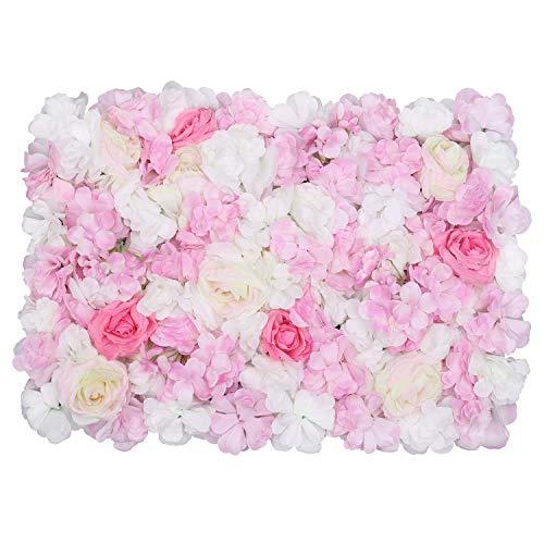 Trimming Shop Hortensie Künstliche Blumen Wand Weiß, Grün & Rosa samt Rose Gefälschte Blumen Wand für Kulisse Hintergrund, Dekoration, Hochzeit, Party, Wohnkultur, 60cm X 40cm, Einzeln - Pink & Creme