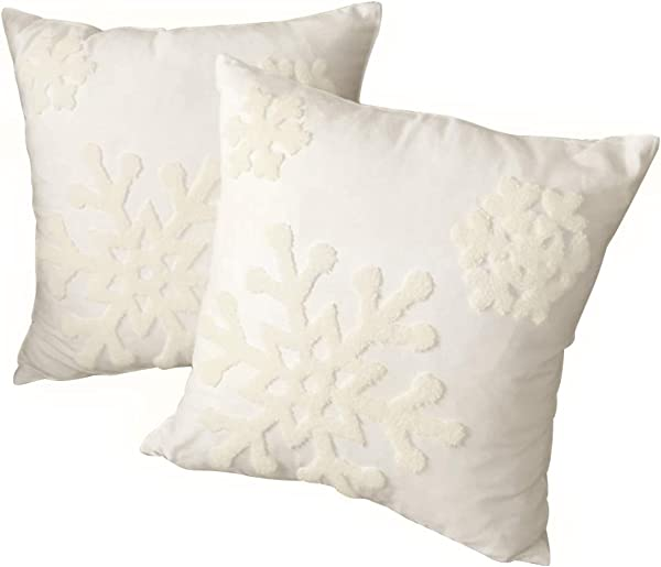 Afirmly 18x18 Cotton Christmas Blessing Throw Pillow Cover For Bed Sofa Cushion Car Snowflake Embroideried Pillowcases 1pair White