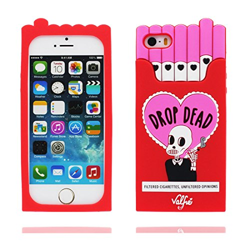 Custodia iPhone 5, iPhone 5S Case TPU 3D Cartoon Cigarette Box Cranio Copertura iPhone SE 5S 5G 5C Cover Shell , durevole Soft Skin Polvere di scorrimento antigraffio