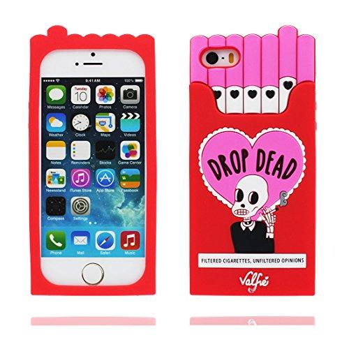 Hülle iPhone 5, iPhone 5S Case TPU 3D Cartoon Cigarette Holder Schädel Handyhülle iPhone SE 5s 5G 5C Cover Shell, haltbare weiche Skin Staub-Beleg-Kratzer beständig