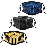 Men Women's 3Pcs Mortal Kombat Face Mask Washable Sub-Zero Scorpion Face Mask with Adjustable EarLoops Noob Saibot Bandana Balaclava Mouth Cover-1