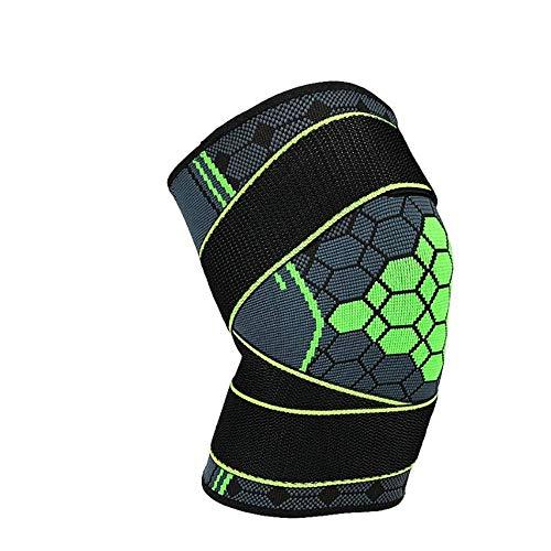 SSN Rodilleras Deportivas Deportes Rodillera Presurización Rodilla Apoyo De Seguridad Ajustable Elástico Brace Pad Baloncesto Voleibol (Color : Verde, Size : S)