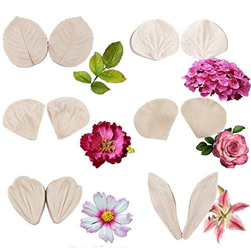 6set Gumpaste Flower Silicone Veining Mold - Fondant Rose Veined Mold,Gum Paste Peony Flower Mold,Sugar Flower Cake Decorating Tool for Lily Daisy Hydrangea Flower Wedding Cake Decoration