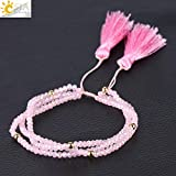 Regeek Strand Bracelets - CSJA Friendship Bracelets Fringe Tassel Pendant Faceted Crystal Beads Braided Bracelet Lover Jewelry Gift Adjustable Rope S096 - (Metal Color: Pink)