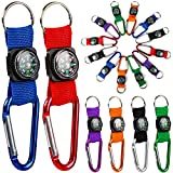 PROLOSO Colorful Carabiner Compass Keychain Belt Clips Kids Toys Prizes Outdoors Adventure Party Favors 20 Pcs