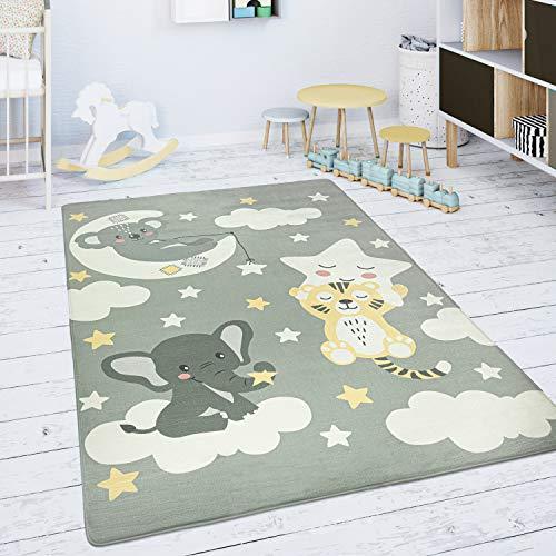 Paco Home Alfombra Infantil Habitación Infantil Juegos Bebé Estrella Nube Luna Gris Blanco, tamaño:155x230 cm