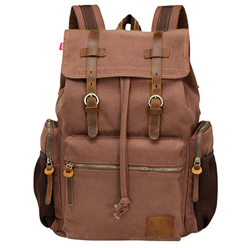 Wowbox Canvas Backpack Vintage Leather 15.6 Inch Laptop School Backpack Travel Rucksack Coffee