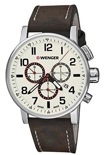 Wenger Unisex-Armbanduhr 01.0343.103 WENGER ATTITUDE CHRONO Analog Quarz Leder 01.0343.103 WENGER ATTITUDE CHRONO