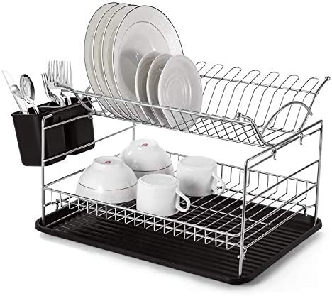 Glotoch Square 2 Tier Dish Drying Rack Kitchen Organizer Storage 2021 Upgraded Base with Chrome product image