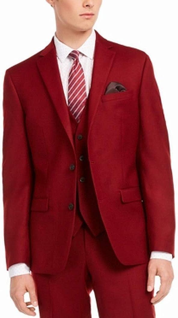 bar III Mens Suit Separate Jacket L Slim Fit Wool Flannel Red 38
