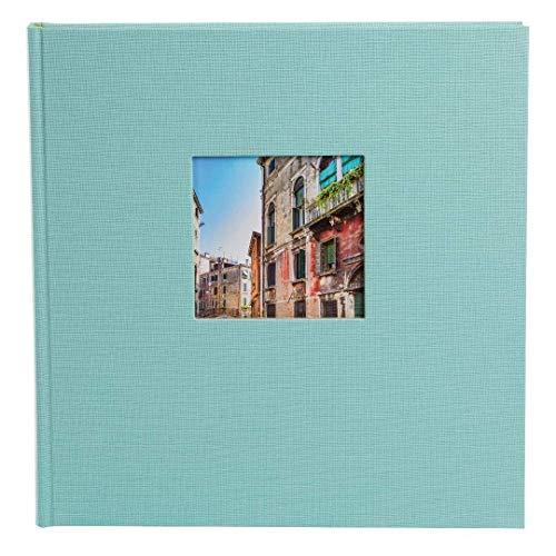 goldbuch 27507 Fotoalbum mit Fensterausschnitt, Bella Vista Trend, Erinnerungsalbum 30 x 31 cm, Foto Album 60 weiße Seiten mit Pergamin-Trennblättern, Fotobuch aus Leinen, Aqua