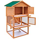 Bigbanana 3-Layer Outdoor Rabbit Hutch Cage, Wooden Chicken Coop Bunny Cage with 4