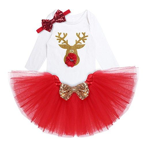 YiZYiF 2 pcs Bébé Fille Vêtement Noël Barboteuse Tutu Bandeaux Cheveux Déguisement Enfant 3-18 Mois (6 Mois, Rouge)