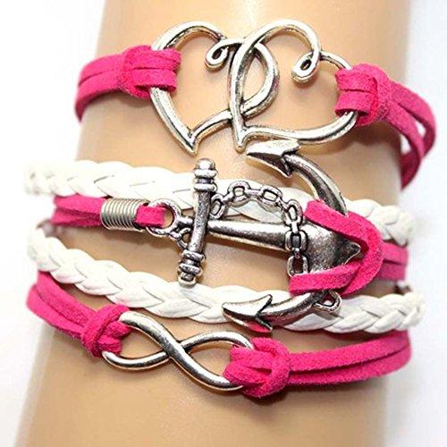 Leather Wrap Charm Bracelets Girls Double Hearts Infinity Rope Wristband Bracelets Pink