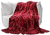 Felldecke, Rot, Hochwertige Kuscheldecke, Decke, Wohndecke, Nerzdecke, Plaid, Webpelzdecke, Tagesdecke