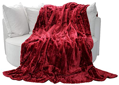 Manta de visón sintético de calidad / cuadros 200 x 150 cm rojo