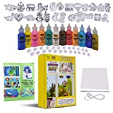 KOKO AROMA Window Paint Art Create Your Own 24 Suncatcher with Fun Story Coloring Book Kit-Boys Girls Toys Age 6-12 Toddler Children's DIY Sticker Windows Clings [12] Paints Arts