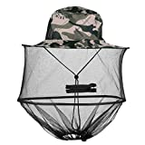 Mangsen Gray Camouflage Mosquito Head Net Hat Unisex Sun Hat with Hidden Net Mesh Bucket Hat for Outdoors Fishing Hiking Gardening Beekeeping
