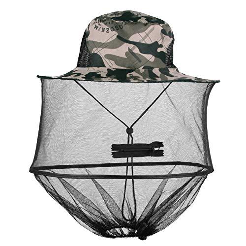 Mogokoyo Moskito Kopfnetz Hut Unisex Sonnenhut Fischerhut Dschungel Koft Schutz Bienenhut für Outdoor Gartenarbeit (Graue Tarnung)