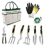 Powcan Gartenwerkzeug Set, 9-teiliges Gartengeräte Set aus Edelstahl Gartenschere, Gartenhandschuhe, Gartentasche, kniendes Pad für Männer und Frauen, Haus oder Geschenk