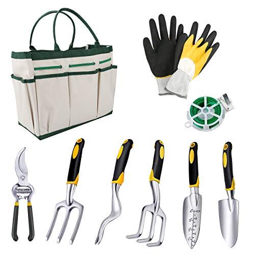 Powcan Herramientas de Jardín 9Pcs Kit de Jardinería Juegos de Herramientas con Organizador Bolsa