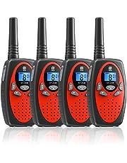 4 Walkie Talkie,16 Canales Función VOX Rango de 3KM 10 Tonos de Llamada con LCD Retroiluminada Walky Talky,Regalos para Actividades Externas, Camping