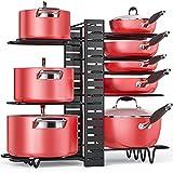 Pan Organizer Rack for Cabinet, Pot Rack with 3 DIY Methods, Adjustable Pots and Pans Organizer under Cabinet with 8 Tiers, Large & Small Pot Organizer Rack for Cabinet Kitchen Cookware Organizer