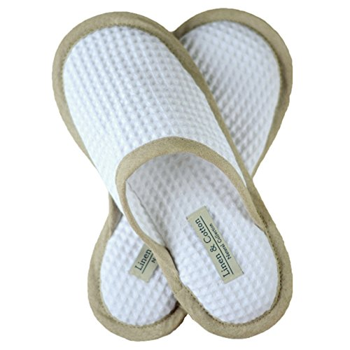 Linen & Cotton Herren Damen Erwachsene Gäste Weiche, Leicht, Hausschuhe/Pantoffeln/Gästehausschuhe/Slippers Aiko, 100% Baumwolle - Eur 37-38 (Weiß)